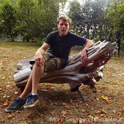 mobiler exterieur, banc sculpté en bois